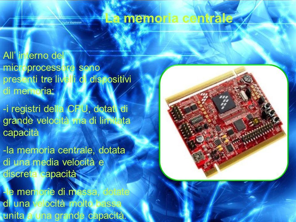 La memoria centrale All' interno del microprocessore sono presenti tre livelli di dispositivi di memoria: