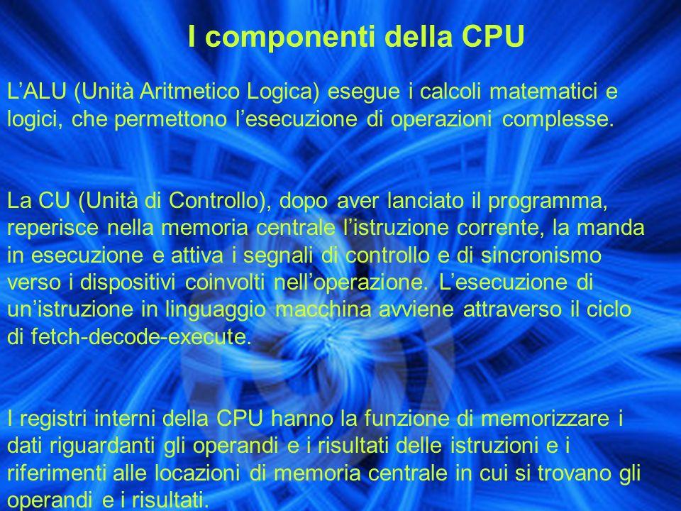 I componenti della CPU L'ALU (Unità Aritmetico Logica) esegue i calcoli matematici e logici, che permettono l'esecuzione di operazioni complesse.