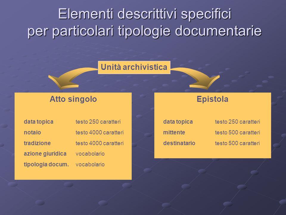 Elementi descrittivi specifici per particolari tipologie documentarie