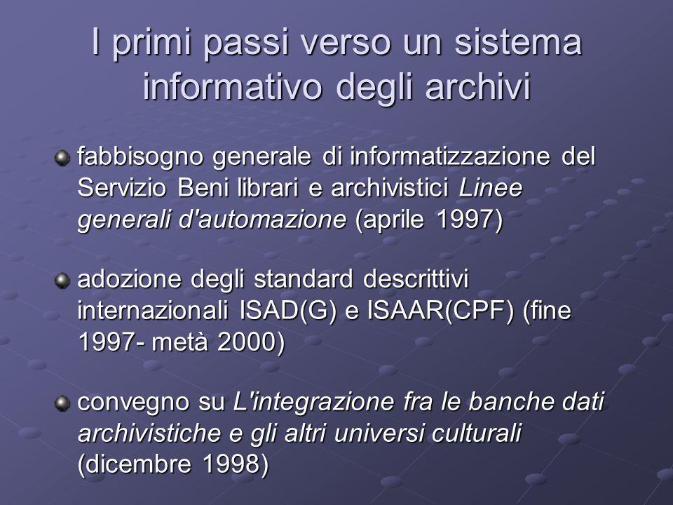 I primi passi verso un sistema informativo degli archivi