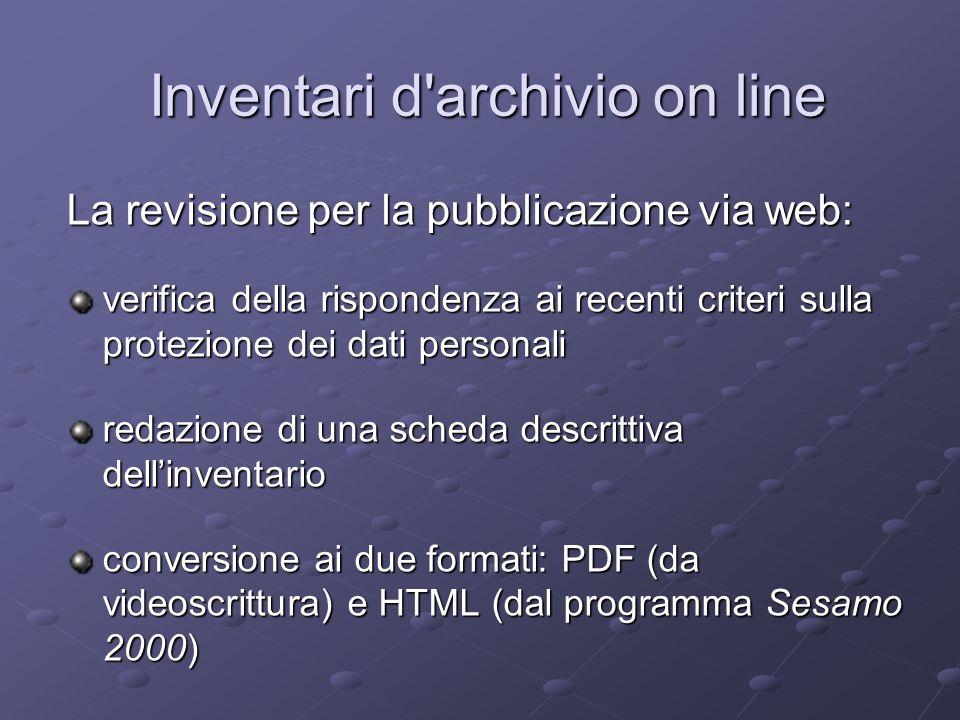 Inventari d archivio on line