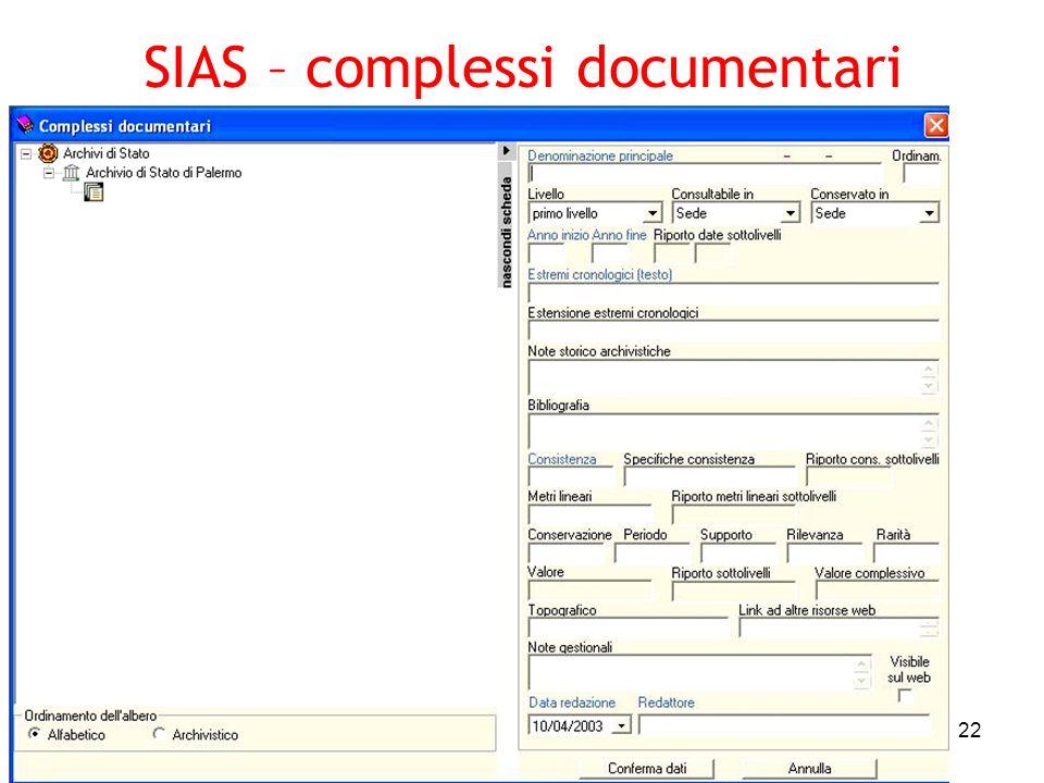 SIAS – complessi documentari