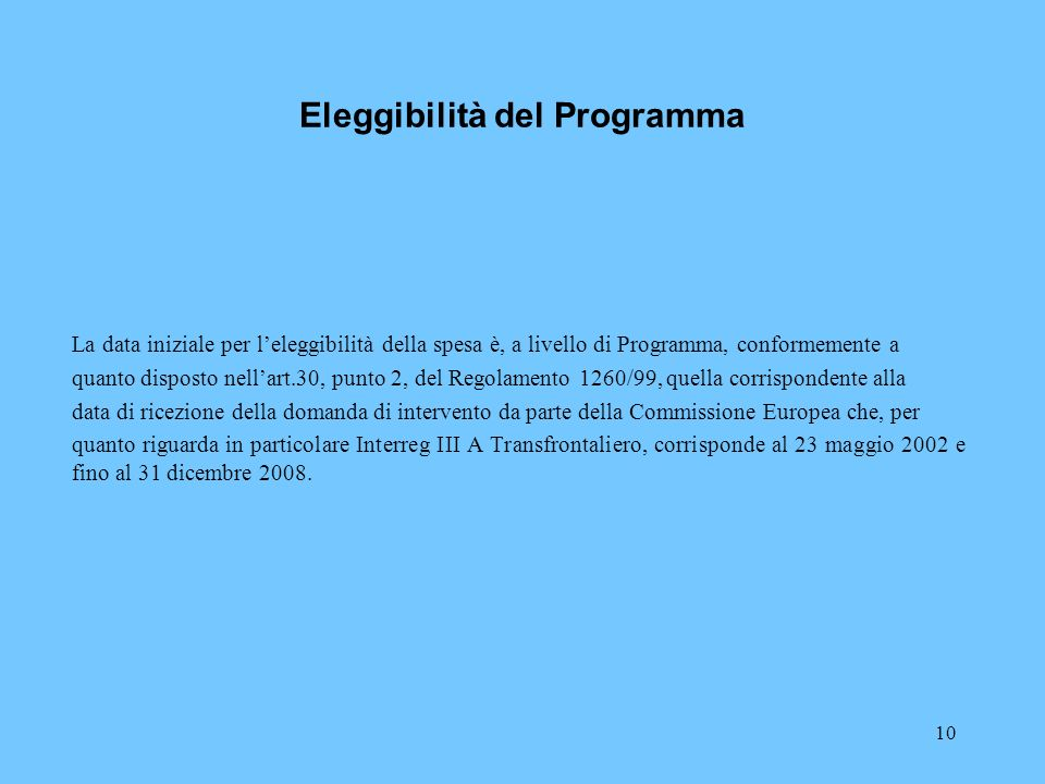 Eleggibilità del Programma