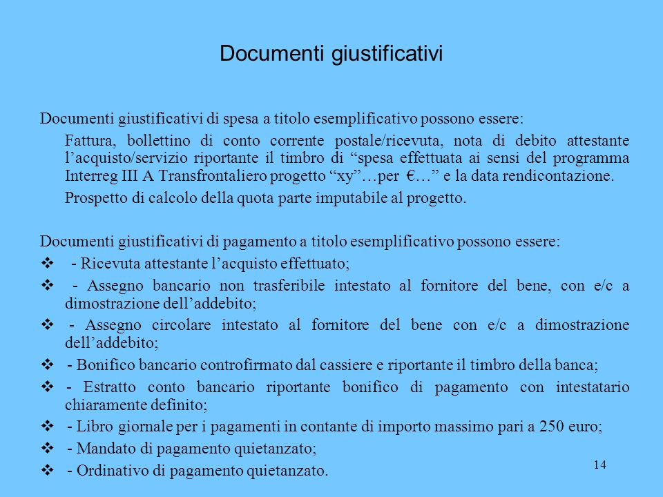 Documenti giustificativi