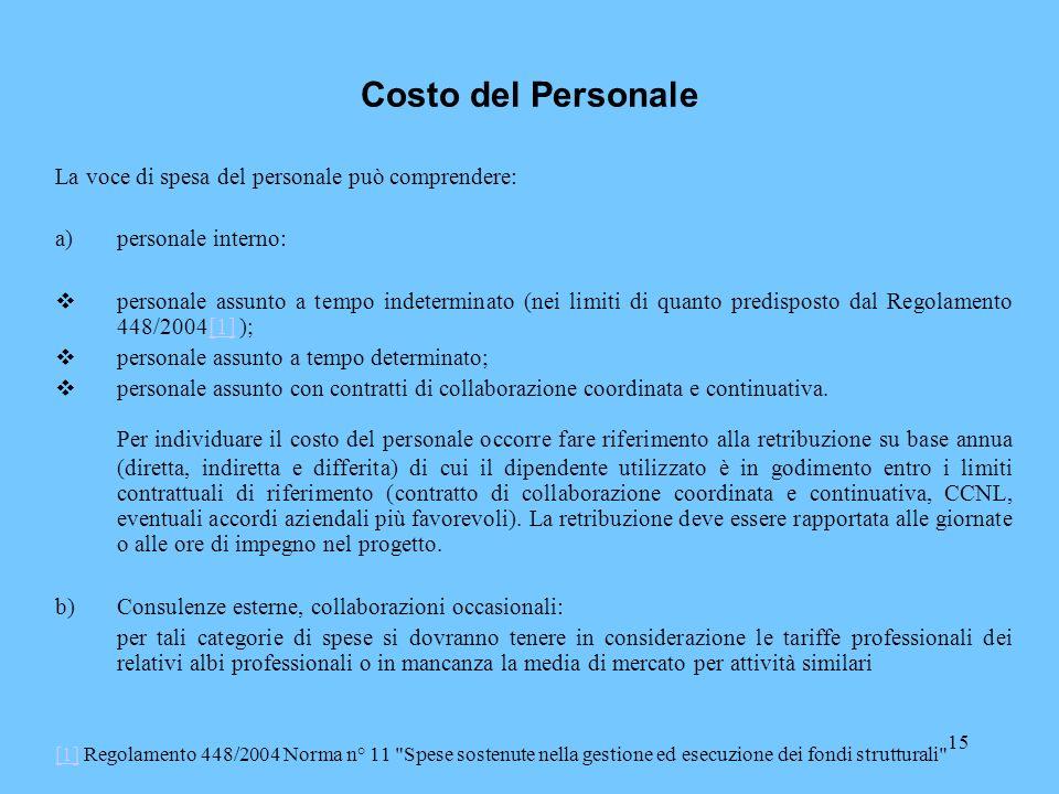 Costo del Personale La voce di spesa del personale può comprendere: personale interno: