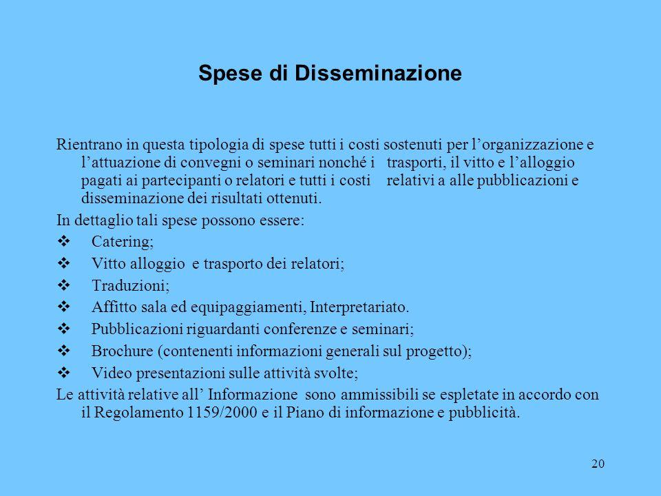 Spese di Disseminazione