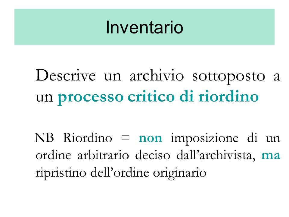Descrive un archivio sottoposto a un processo critico di riordino
