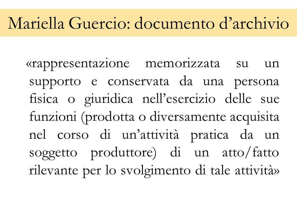 Mariella Guercio: documento d'archivio