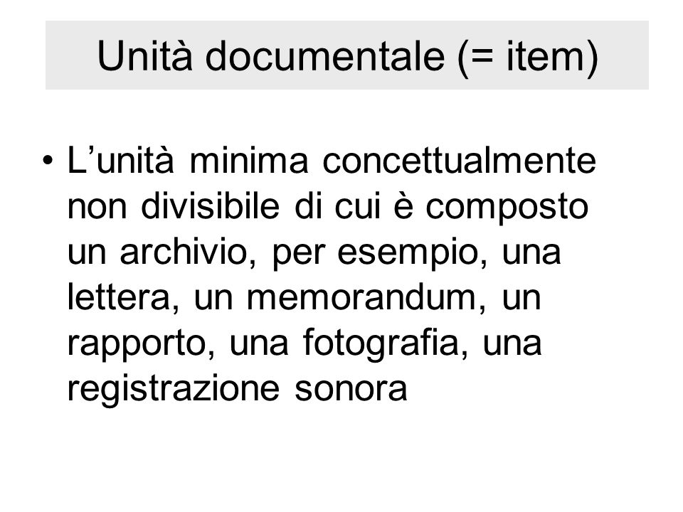 Unità documentale (= item)