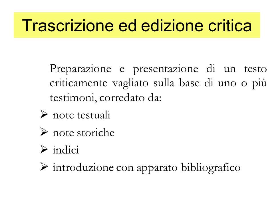 Trascrizione ed edizione critica
