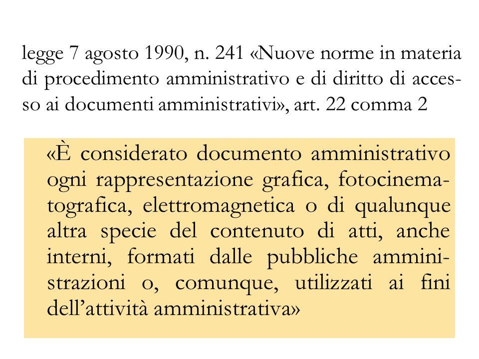 legge 7 agosto 1990, n. 241 «Nuove norme in materia di procedimento amministrativo e di diritto di acces-so ai documenti amministrativi», art. 22 comma 2
