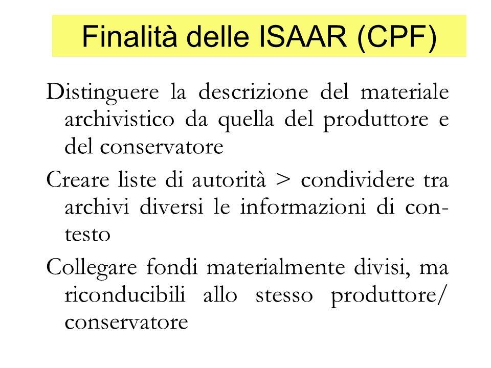 Finalità delle ISAAR (CPF)