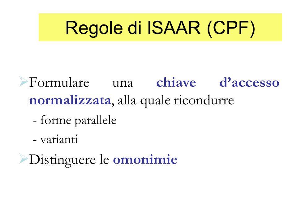 Regole di ISAAR (CPF) Formulare una chiave d'accesso normalizzata, alla quale ricondurre. - forme parallele.