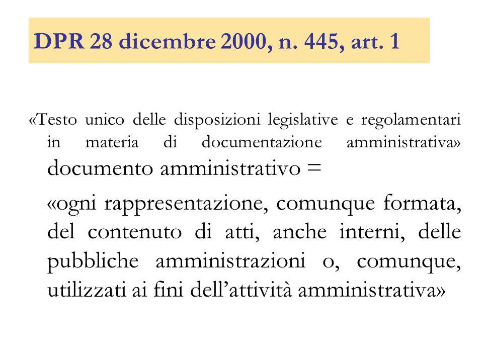 DPR 28 dicembre 2000, n. 445, art. 1