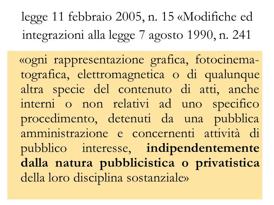 legge 11 febbraio 2005, n. 15 «Modifiche ed integrazioni alla legge 7 agosto 1990, n. 241