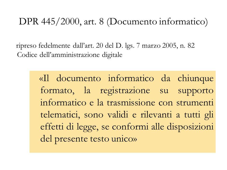 DPR 445/2000, art. 8 (Documento informatico)