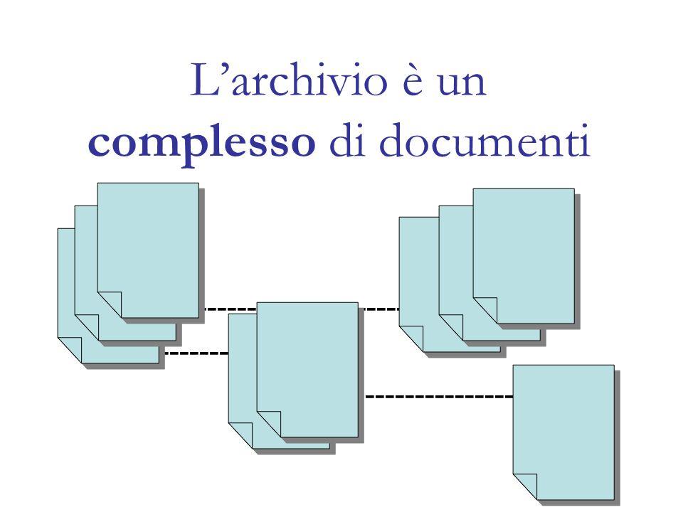 L'archivio è un complesso di documenti