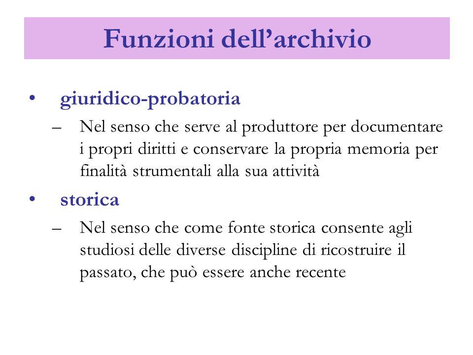 Funzioni dell'archivio