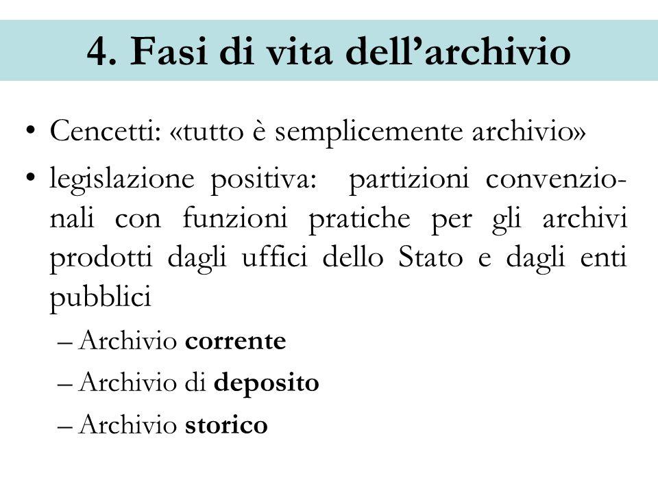 4. Fasi di vita dell'archivio