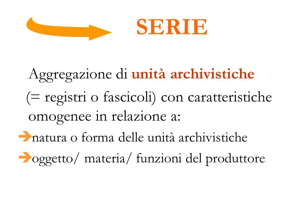 SERIE Aggregazione di unità archivistiche. (= registri o fascicoli) con caratteristiche omogenee in relazione a: