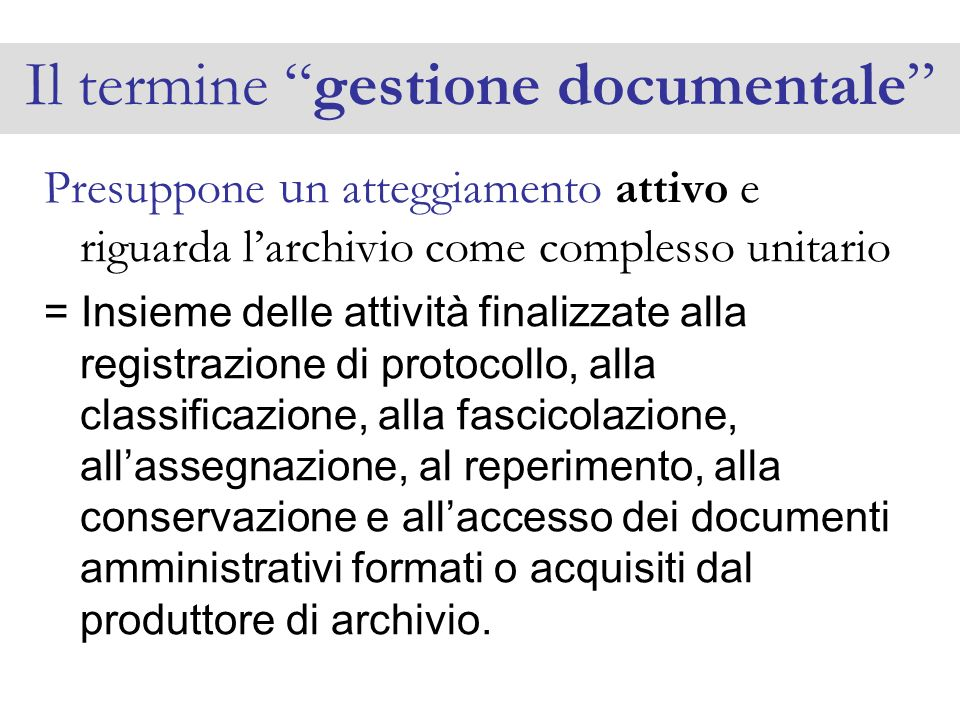 Il termine gestione documentale