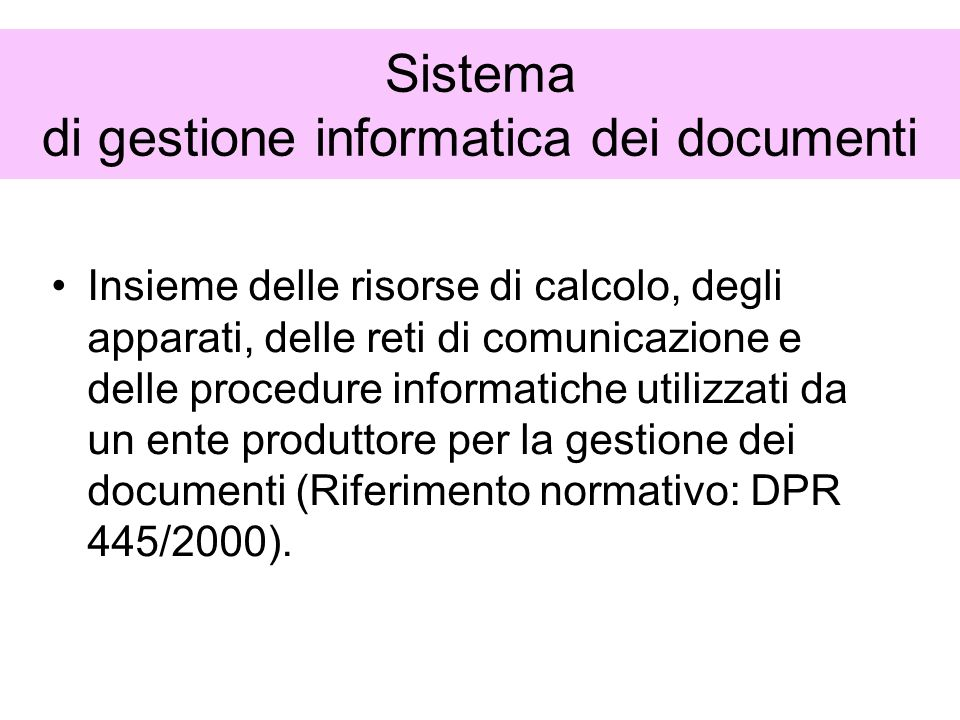 Sistema di gestione informatica dei documenti