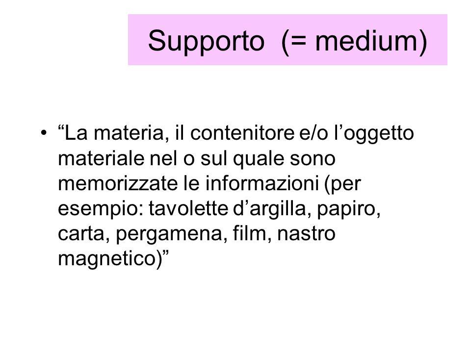 Supporto (= medium)