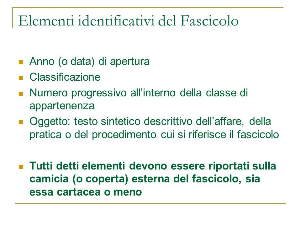 Elementi identificativi del Fascicolo