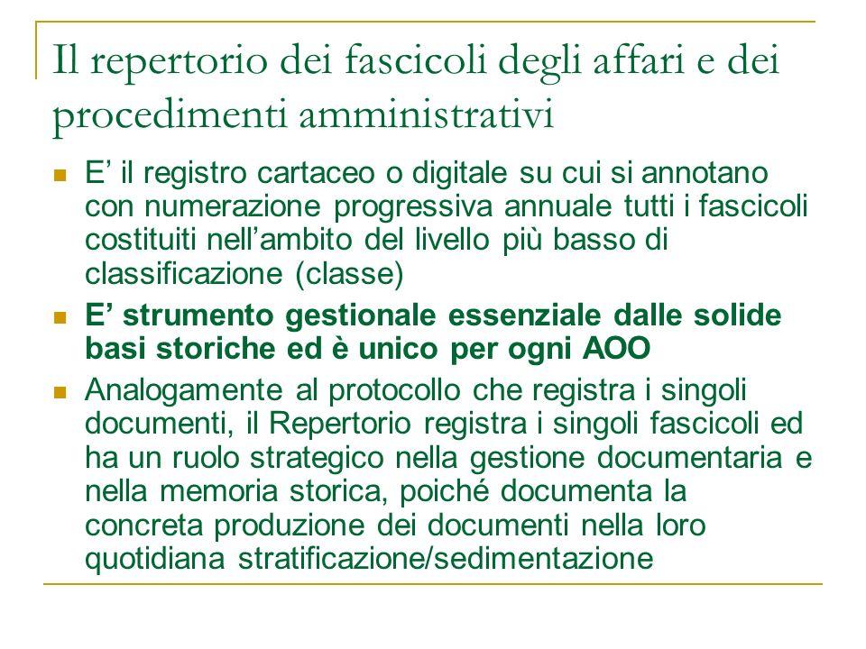 Il repertorio dei fascicoli degli affari e dei procedimenti amministrativi