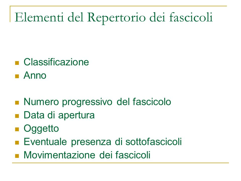 Elementi del Repertorio dei fascicoli