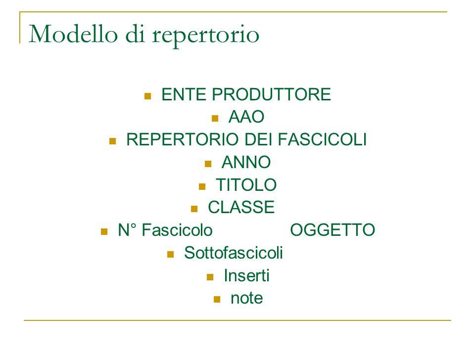 REPERTORIO DEI FASCICOLI