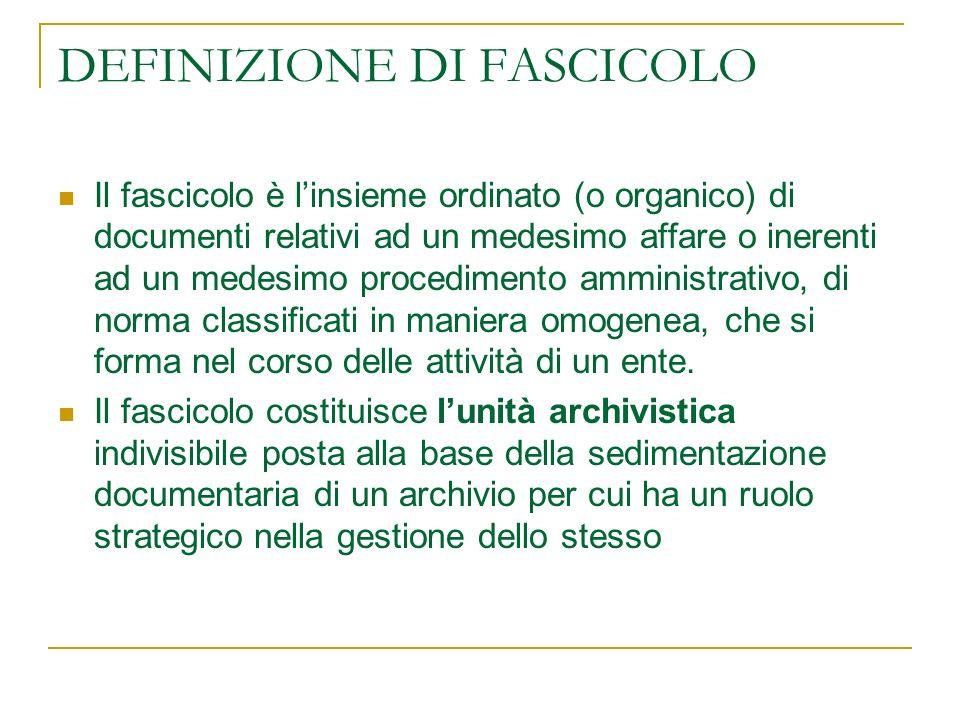 DEFINIZIONE DI FASCICOLO
