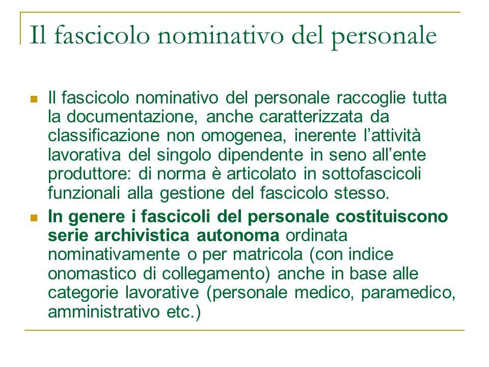 Il fascicolo nominativo del personale