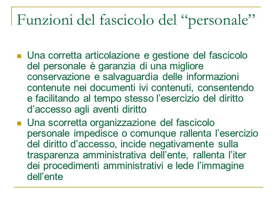 Funzioni del fascicolo del personale