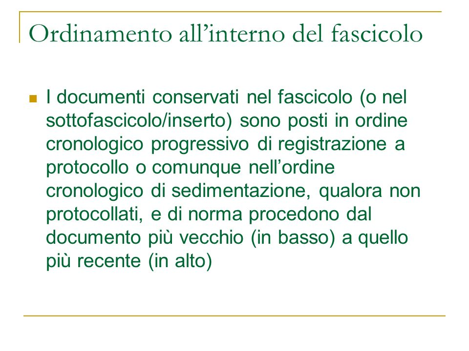 Ordinamento all'interno del fascicolo