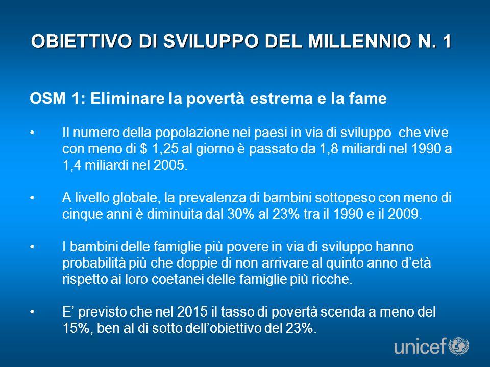 OBIETTIVO DI SVILUPPO DEL MILLENNIO N. 1
