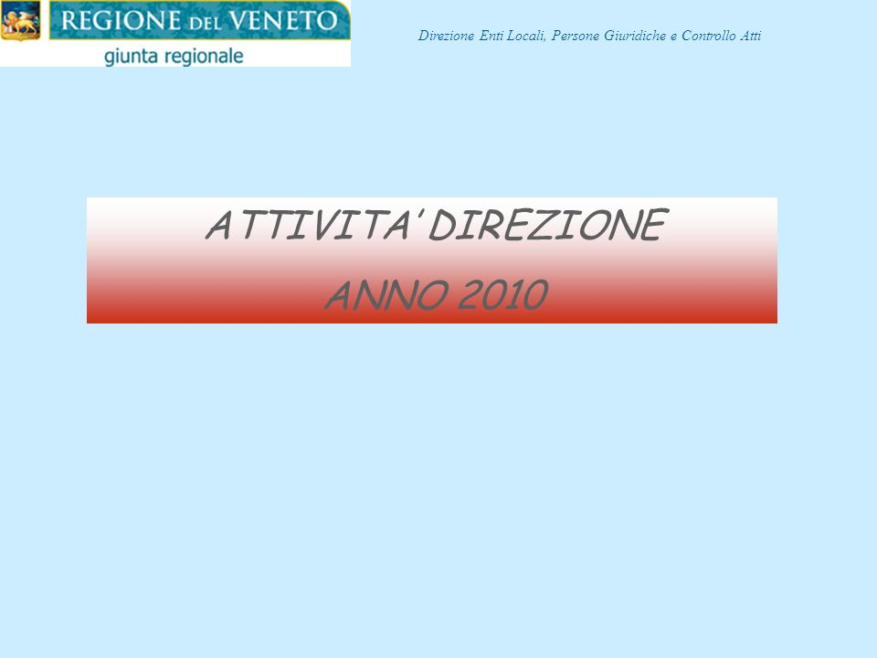 ATTIVITA' DIREZIONE ANNO 2010