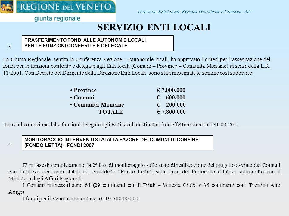 SERVIZIO ENTI LOCALI Province € 7.000.000 Comuni € 600.000