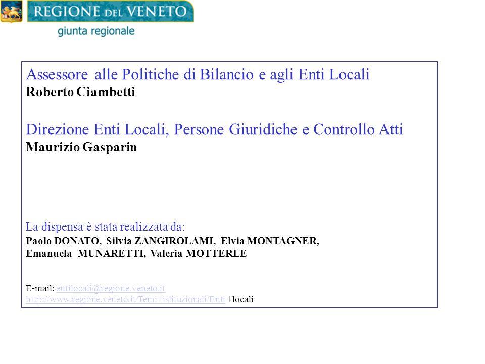 Assessore alle Politiche di Bilancio e agli Enti Locali