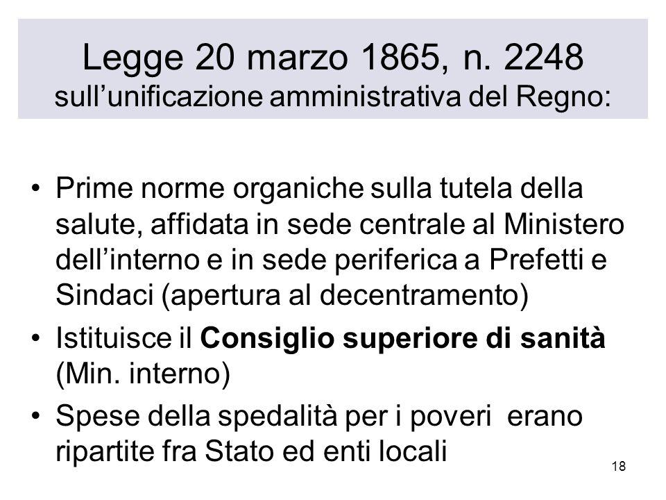 Legge 20 marzo 1865, n. 2248 sull'unificazione amministrativa del Regno: