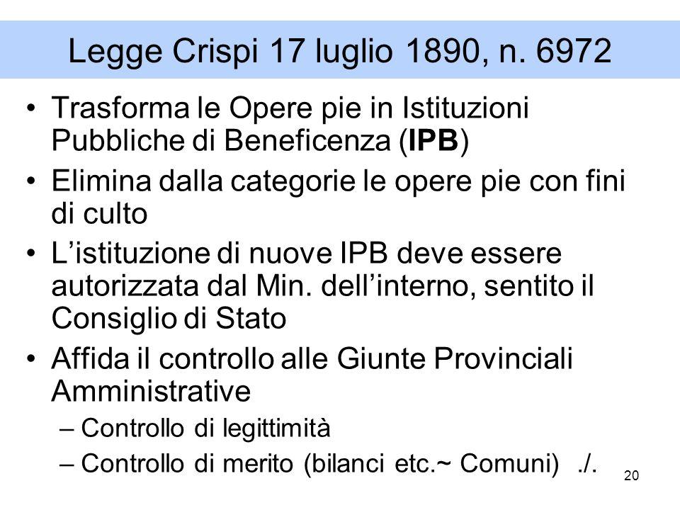 Legge Crispi 17 luglio 1890, n. 6972 Trasforma le Opere pie in Istituzioni Pubbliche di Beneficenza (IPB)