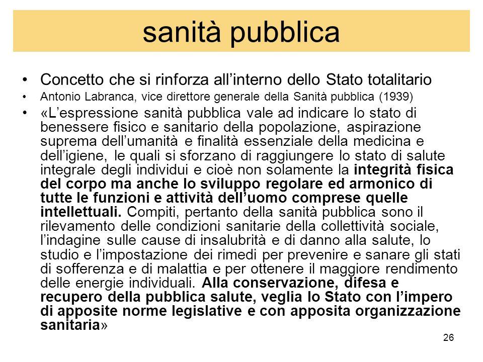 sanità pubblica Concetto che si rinforza all'interno dello Stato totalitario. Antonio Labranca, vice direttore generale della Sanità pubblica (1939)