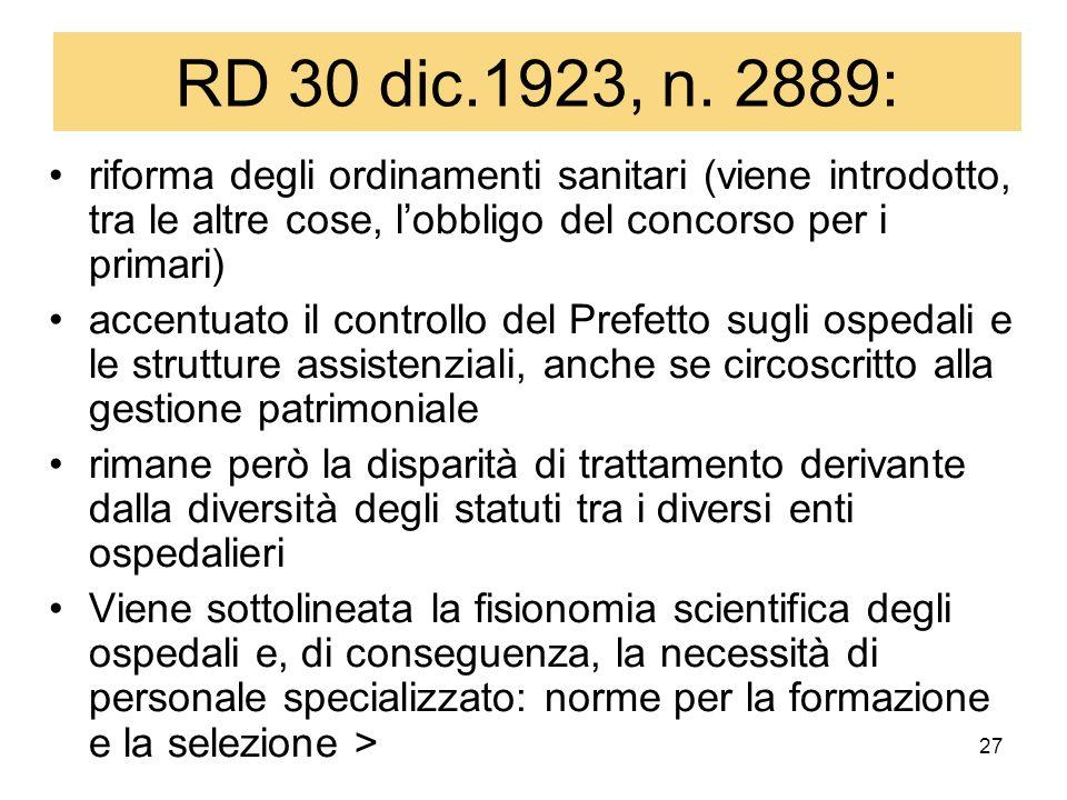 RD 30 dic.1923, n. 2889: riforma degli ordinamenti sanitari (viene introdotto, tra le altre cose, l'obbligo del concorso per i primari)