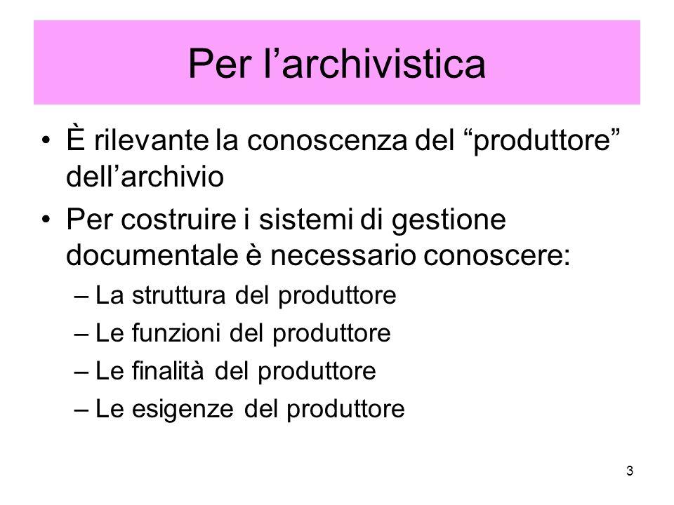 Per l'archivistica È rilevante la conoscenza del produttore dell'archivio. Per costruire i sistemi di gestione documentale è necessario conoscere: