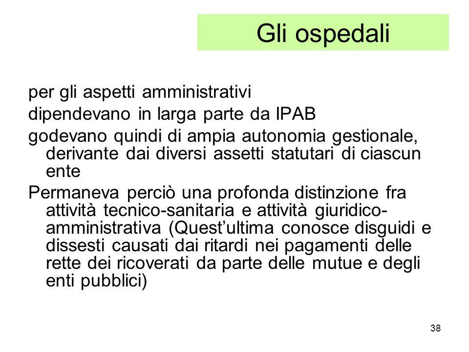 Gli ospedali per gli aspetti amministrativi
