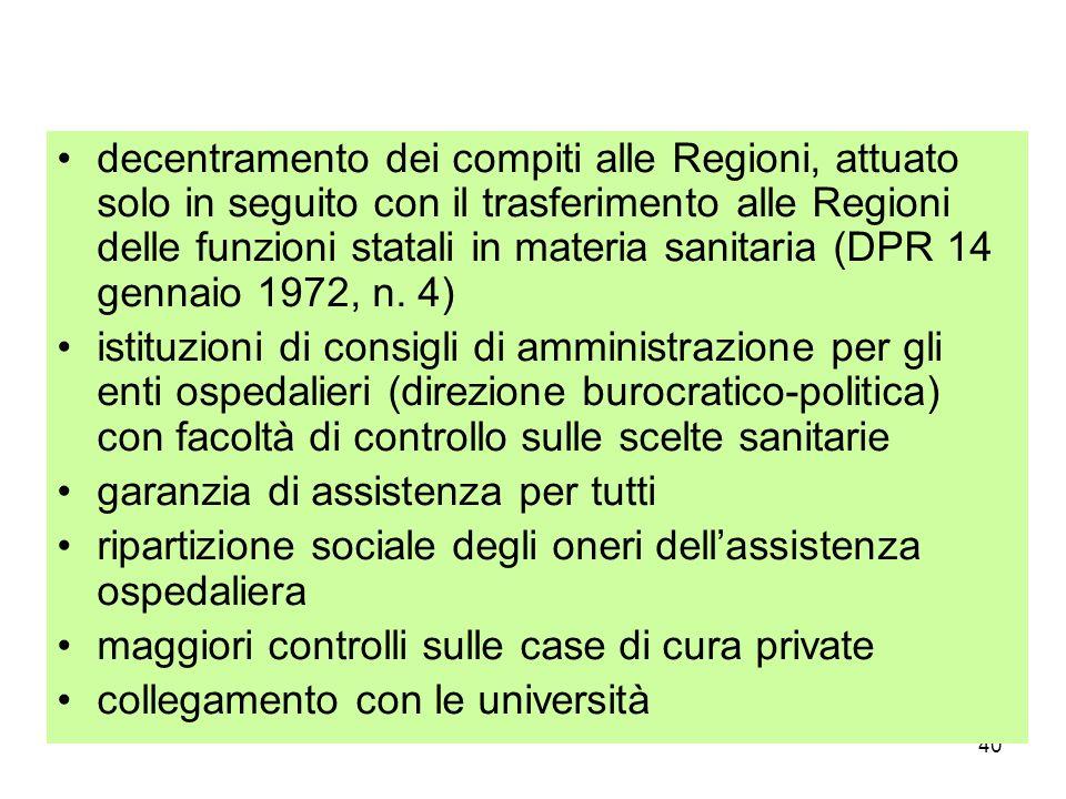 decentramento dei compiti alle Regioni, attuato solo in seguito con il trasferimento alle Regioni delle funzioni statali in materia sanitaria (DPR 14 gennaio 1972, n. 4)