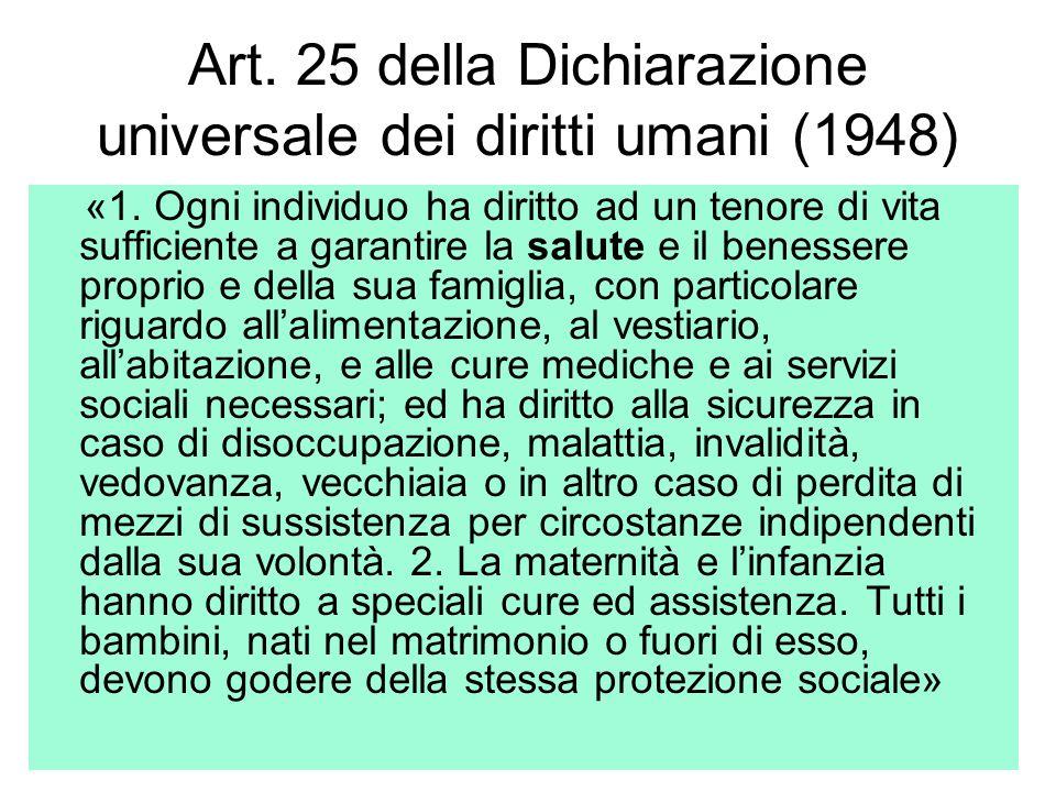 Art. 25 della Dichiarazione universale dei diritti umani (1948)