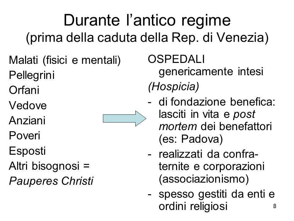 Durante l'antico regime (prima della caduta della Rep. di Venezia)