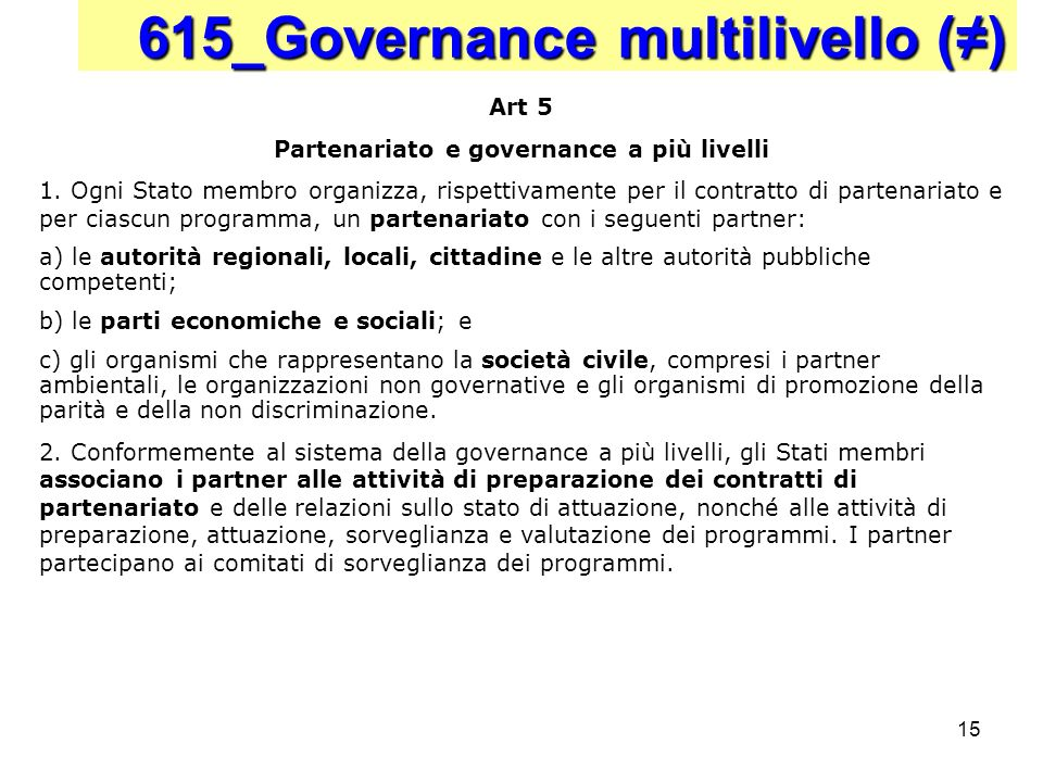 Partenariato e governance a più livelli
