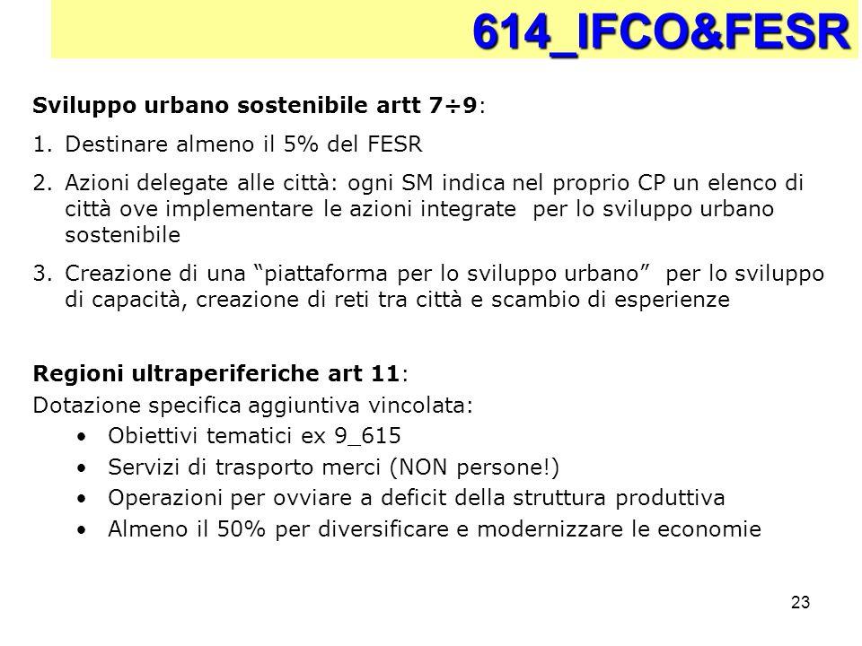 614_IFCO&FESR Sviluppo urbano sostenibile artt 7÷9: